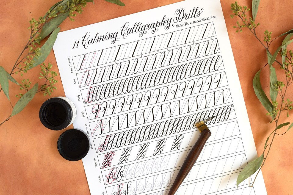 11 Calming Calligraphy Drills Printable | The Postman's Knock