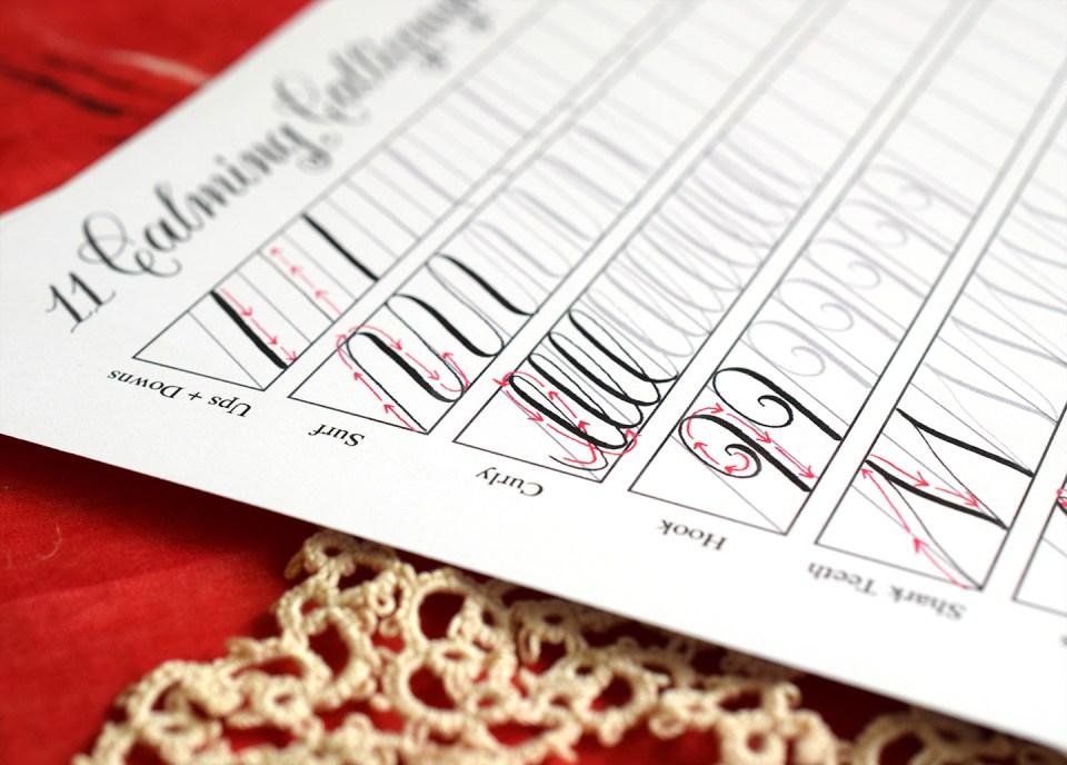 Calming calligraphy drills printable free download