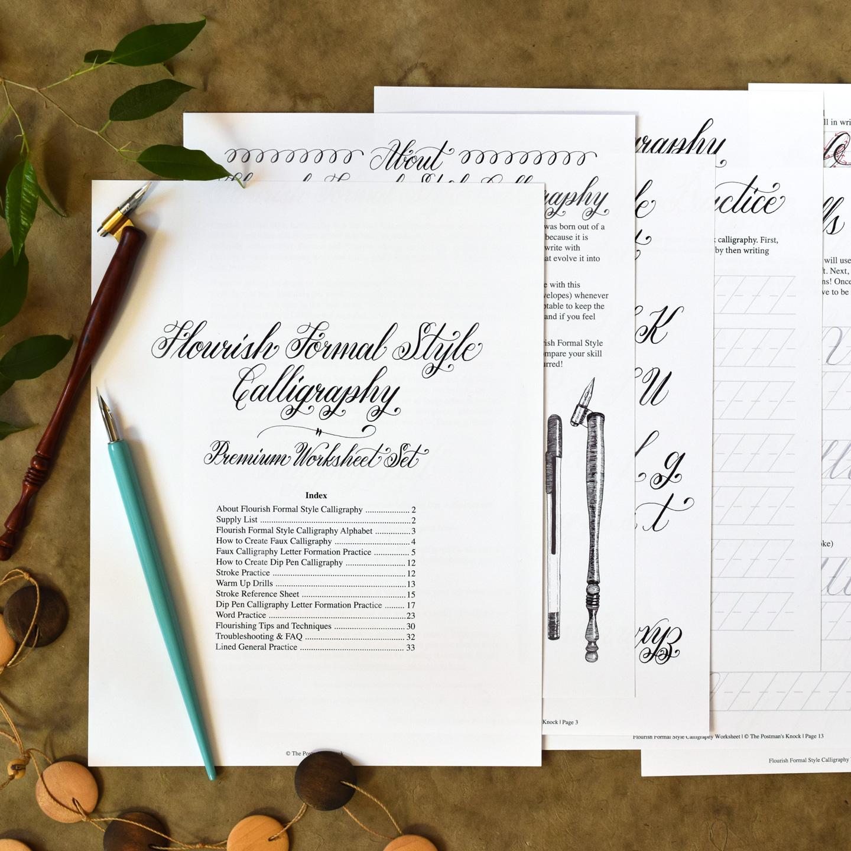 Premium Calligraphy Worksheet Set Flourish Formal Style