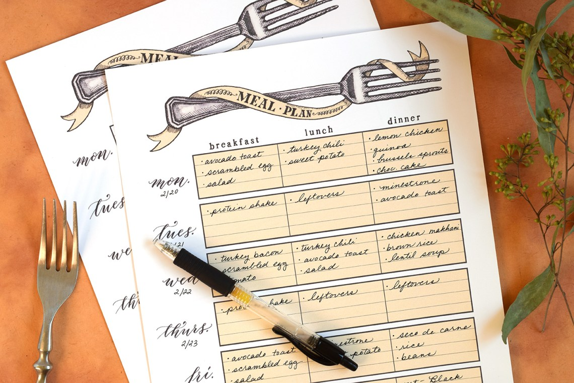 Printable Artistic Weekly Meal Planner | The Postman's Knock
