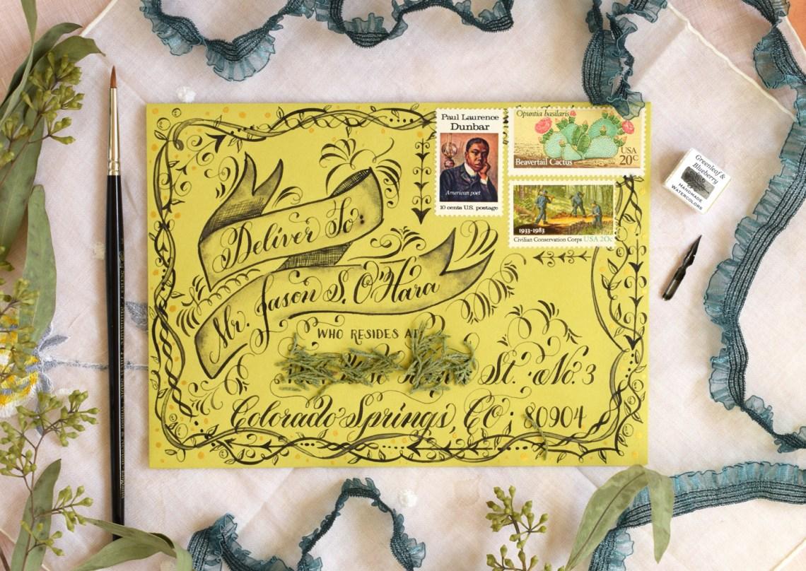 Flourish Formal Style Calligraphy Mail Art | The Postman's Knock