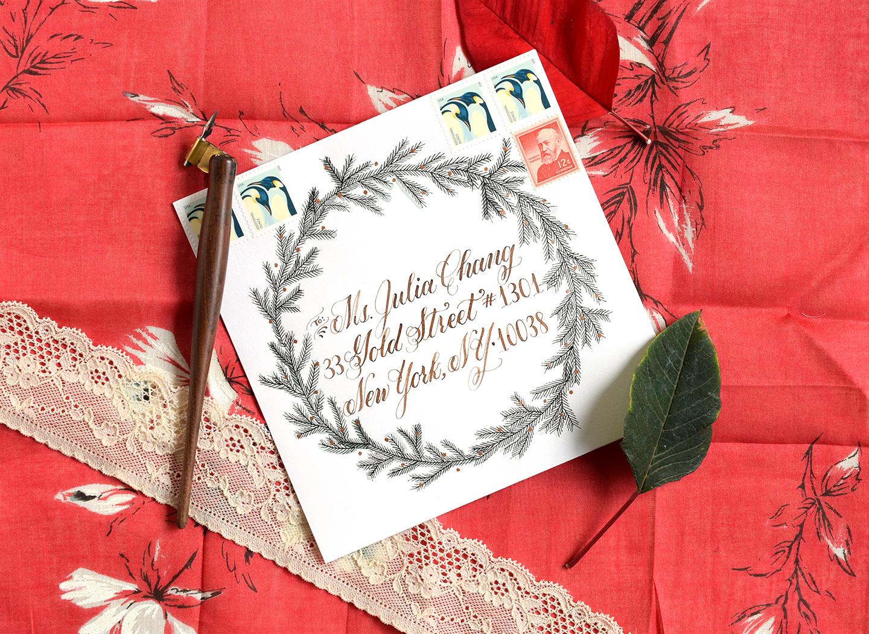 Fir Wreath Envelope Art | The Postman's Knock