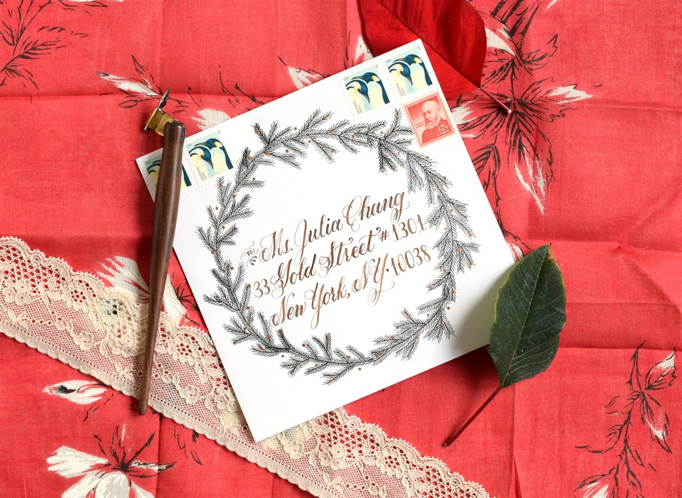 Fir Wreath Envelope Art | The Postman's Knock