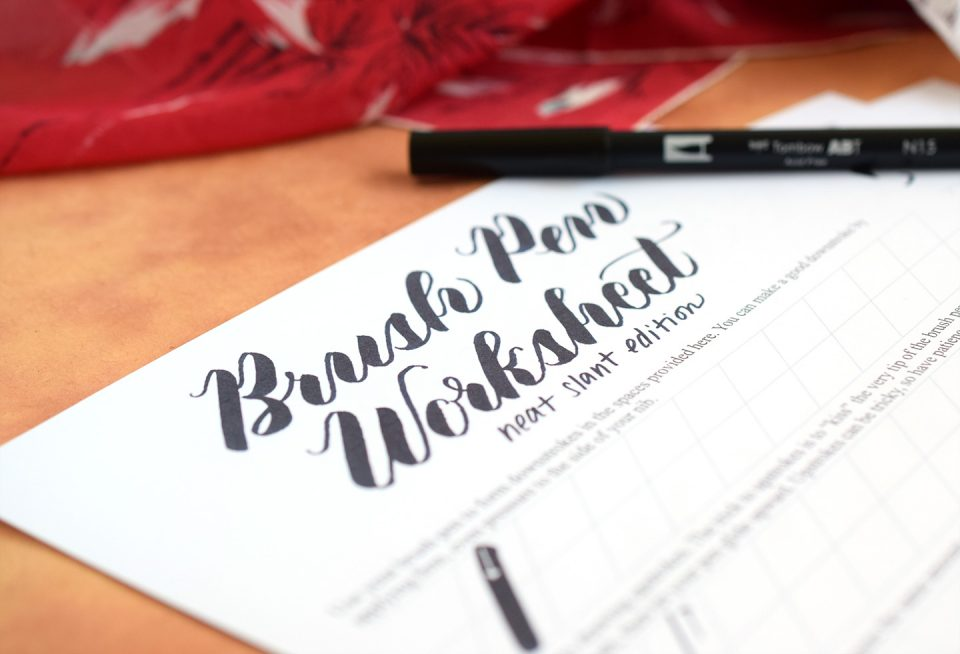 Free Brush Pen Worksheet: Neat Slant Edition | The Postman's Knock