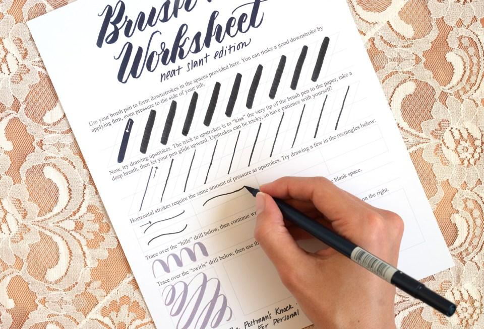 Free Brush Pen Calligraphy Worksheet: Neat Slant Edition | The Postman's Knock