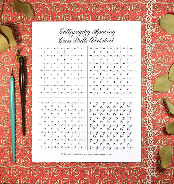 Calligraphy Spacing Cross Drills Worksheet
