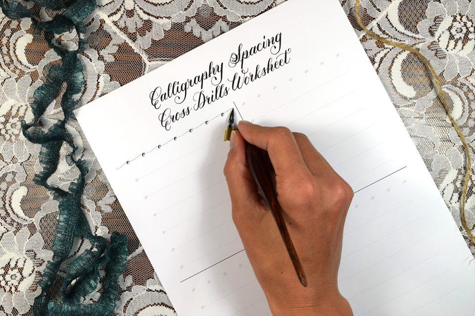 Free Calligraphy Spacing Cross Drills Worksheet   The Postman's Knock