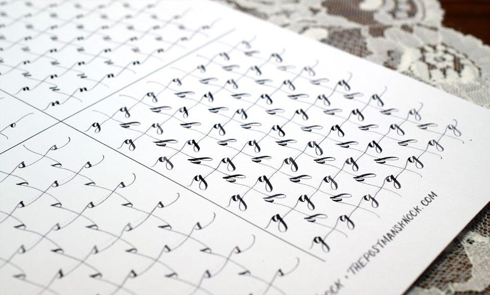 Free Calligraphy Spacing Cross Drills Worksheet | The Postman's Knock