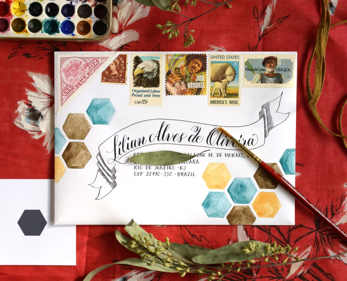 Watercolor Hexagons Mail Art Tutorial   The Postman's Knock