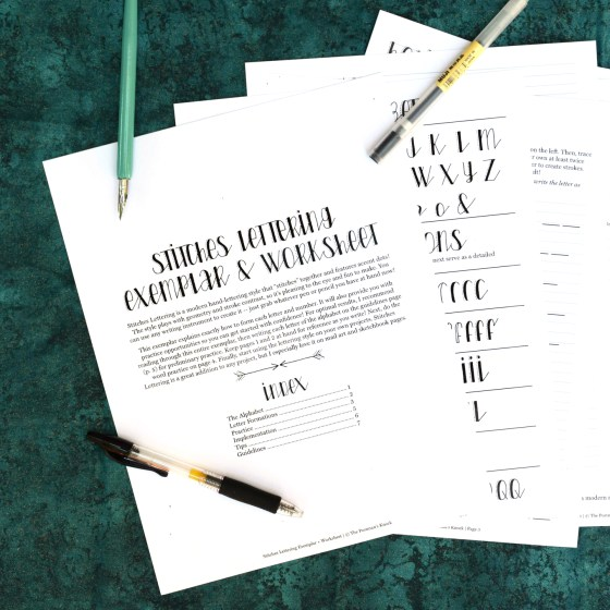 This 7 page printable worksheet + exemplar will teach you how to create Stitches Hand-Lettering!