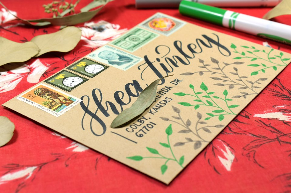 Crayola Calligraphy Vines Mail Art | The Postman's Knock