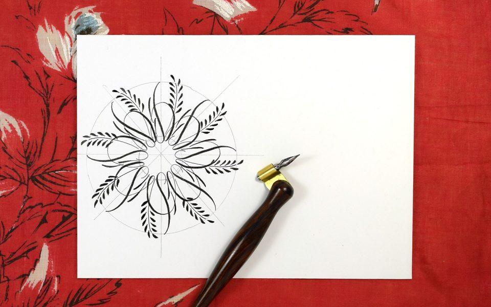 Flourished Calligraphy Medallion Tutorial | The Postman's Knock