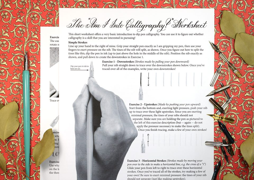 """Free """"Am I Into Calligraphy?"""" Printable Worksheet 