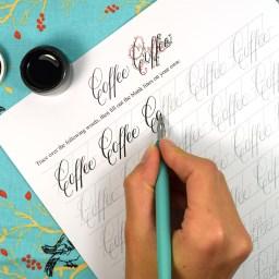 Printable Calligraphy Worksheet Set (Janet Style) | The Postman's Knock