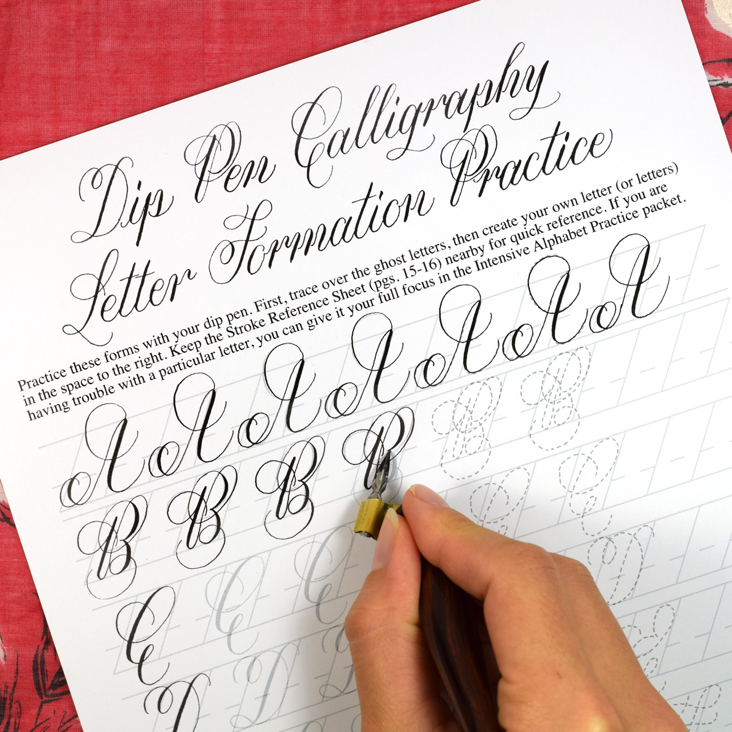 Printable Calligraphy Worksheet Set Janet Style