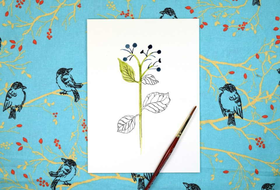 """Floral Sketch """"Just Because"""" Card Tutorial   The Postman's Knock"""