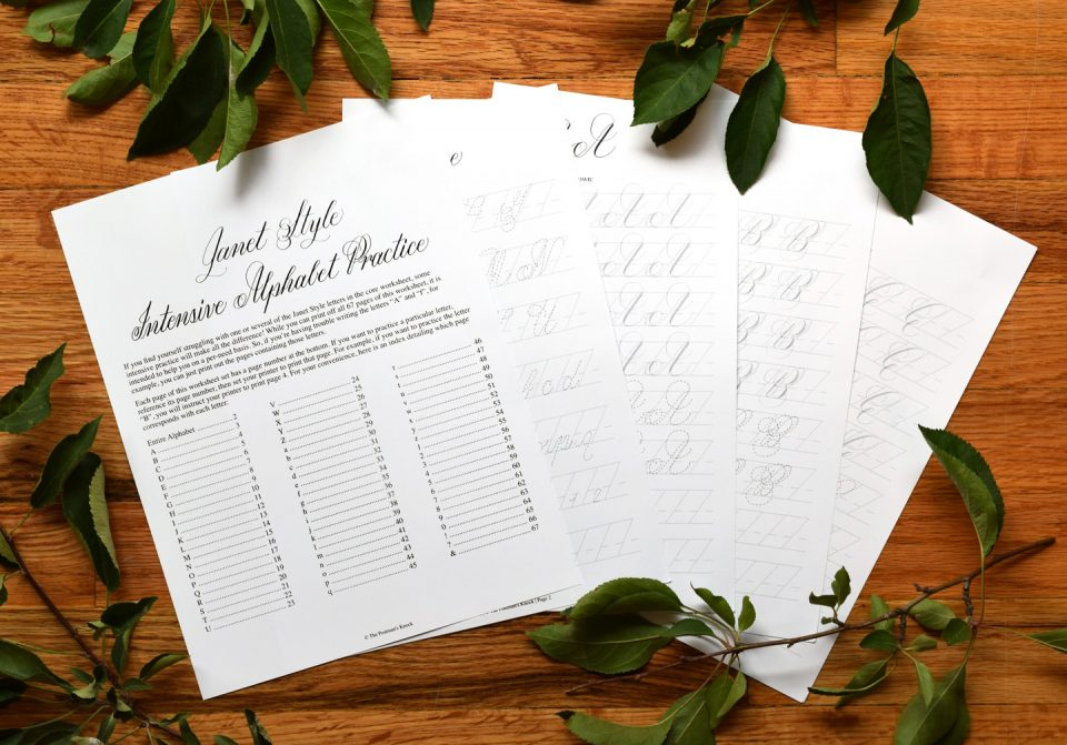 The new janet style calligraphy worksheet set has arrived the