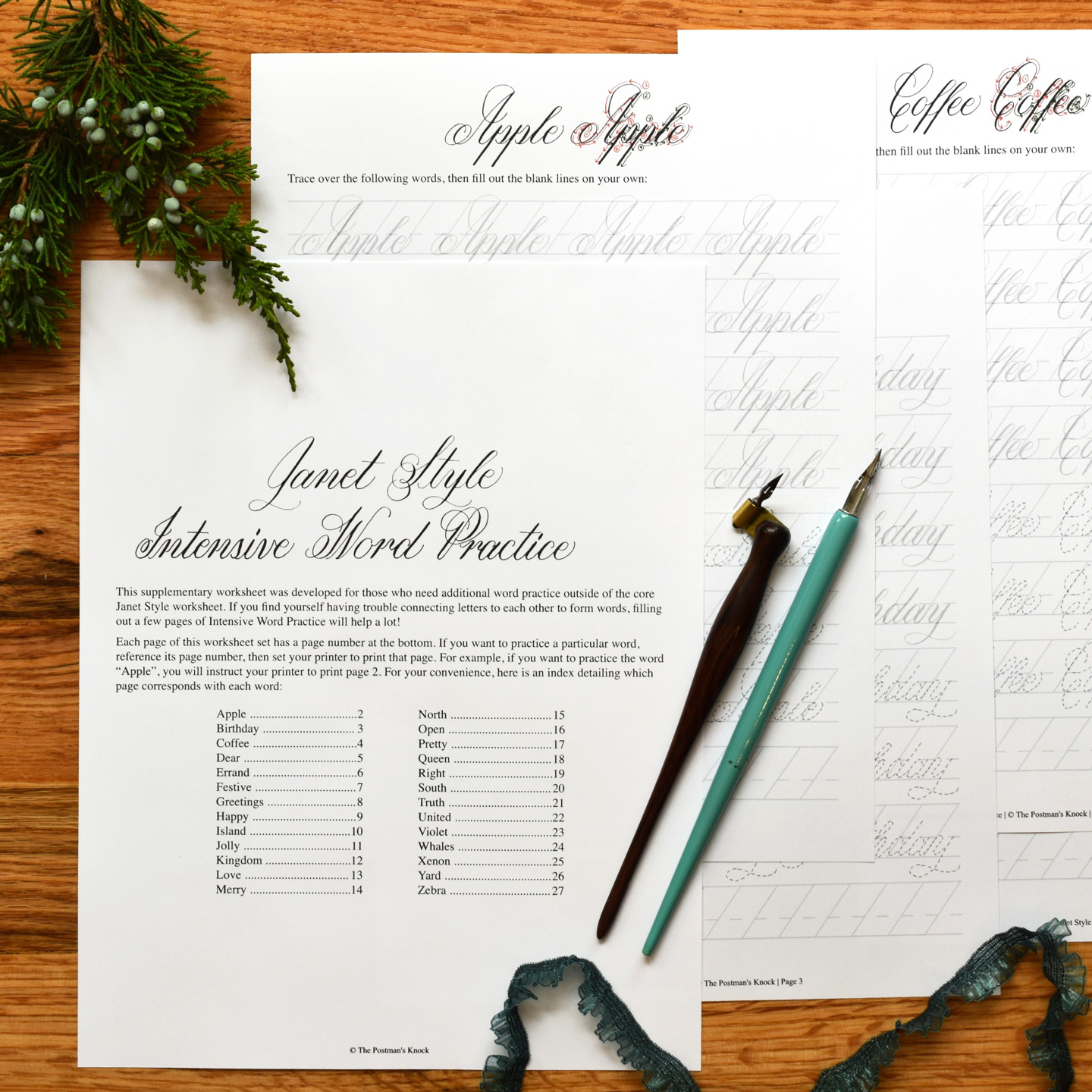 Printable Calligraphy Worksheet Set Janet Style The