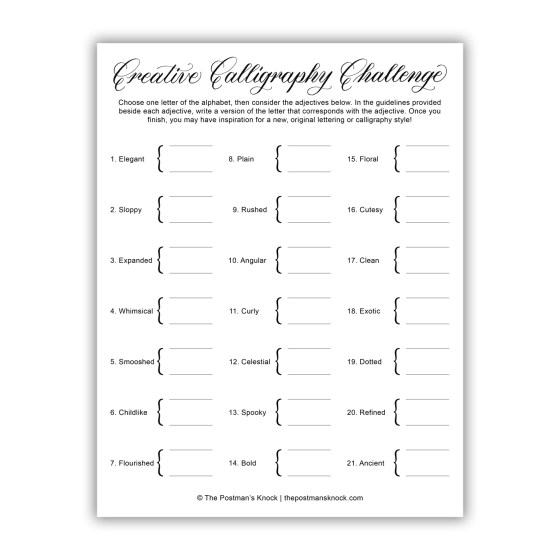 Creative Calligraphy Challenge Worksheet | The Postman's Knock