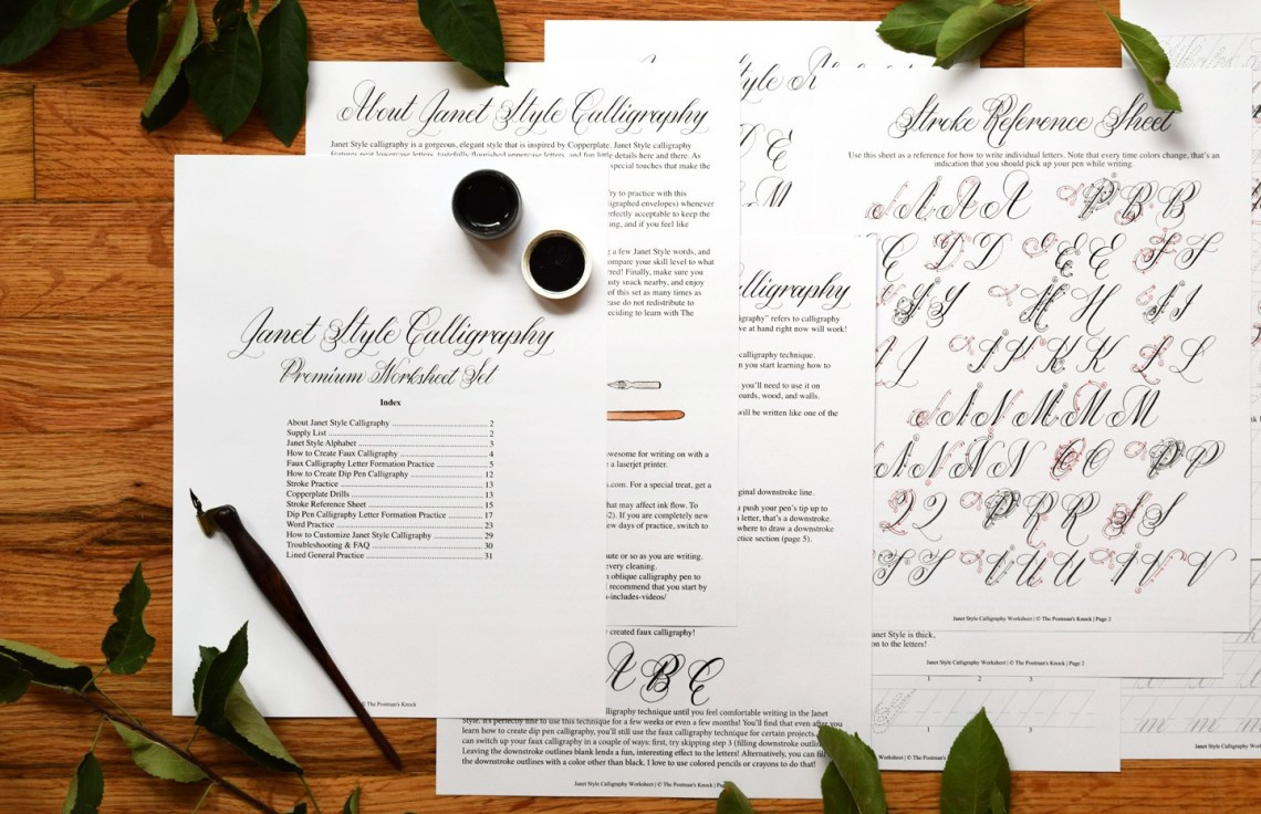 Janet Style Calligraphy Worksheet | The Postman's Knock