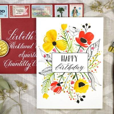Floral Burst Birthday Card Tutorial (Includes Free Printable)