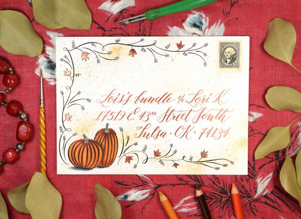 Flourished Autumn Envelope Art Tutorial   The Postman's Knock