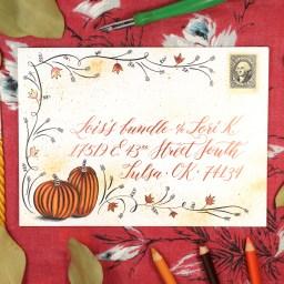 Flourished Autumn Envelope Art Tutorial | The Postman's Knock