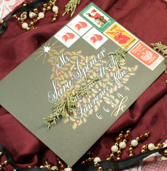 Christmas Tree Holiday Envelope Art Guidelines Template | The Postman's Knock