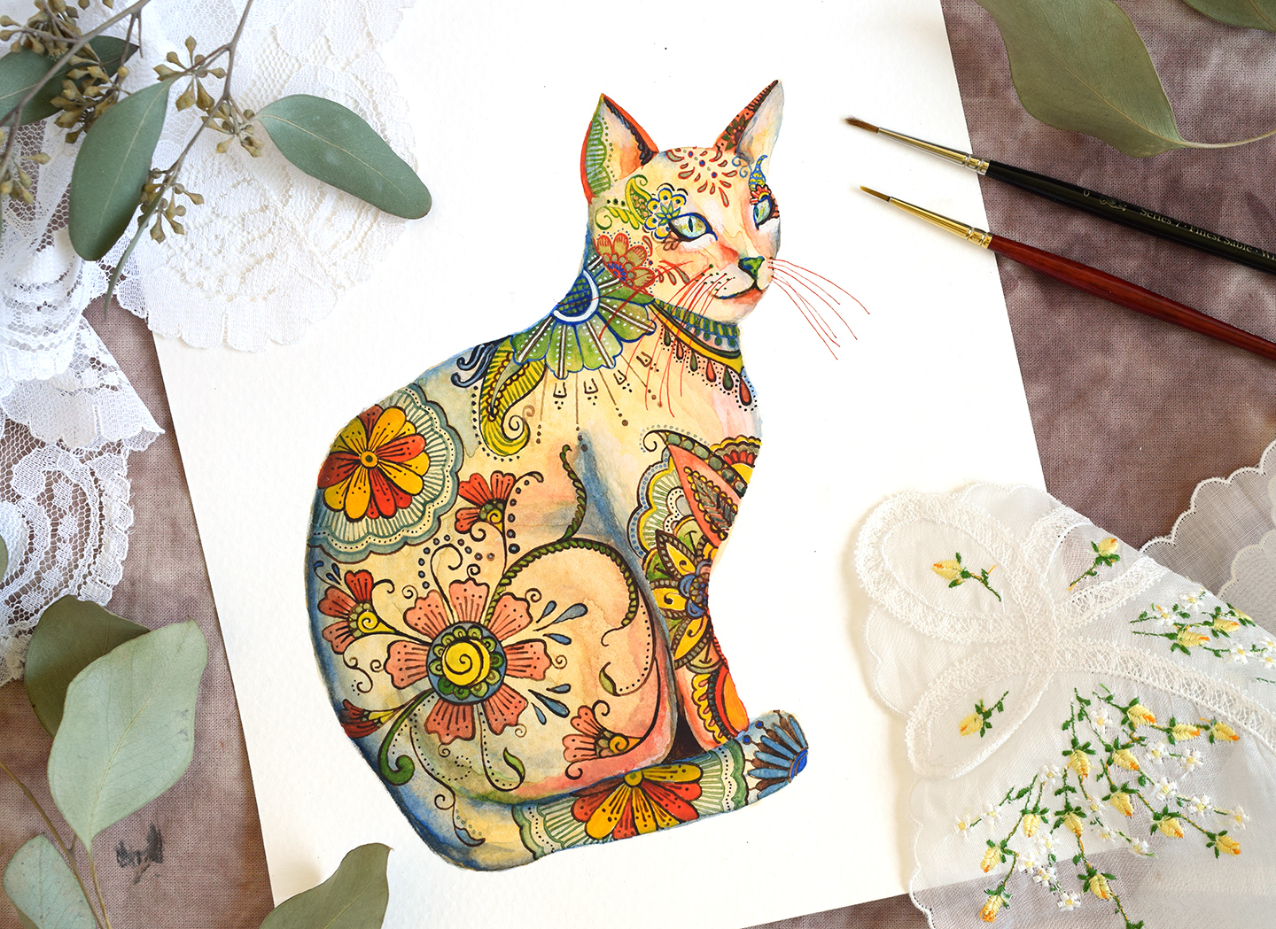 Henna Cat Created with Dip Pen | The Postman's Knock