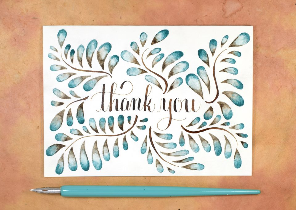 blended watercolor thank you card tutorial the postman s knock