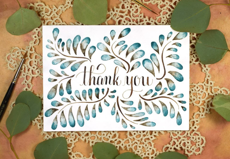 Blended Watercolor Thank You Card Tutorial | The Postman's Knock