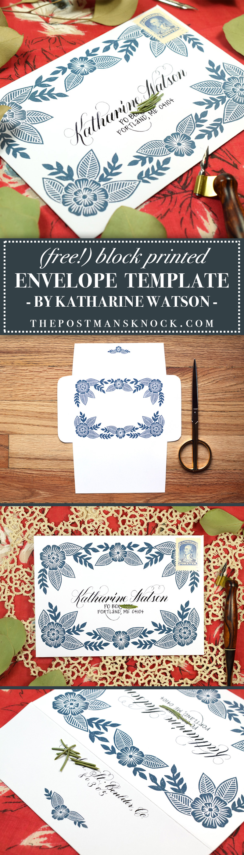(Free!) Block Printed Envelope Template | The Postman's Knock