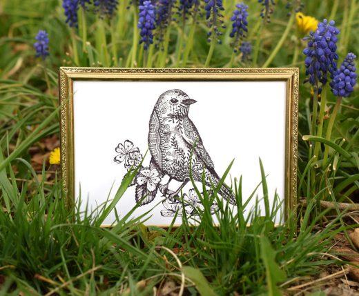 Henna Bluebird Illustration + Card Tutorial | The Postman's Knock