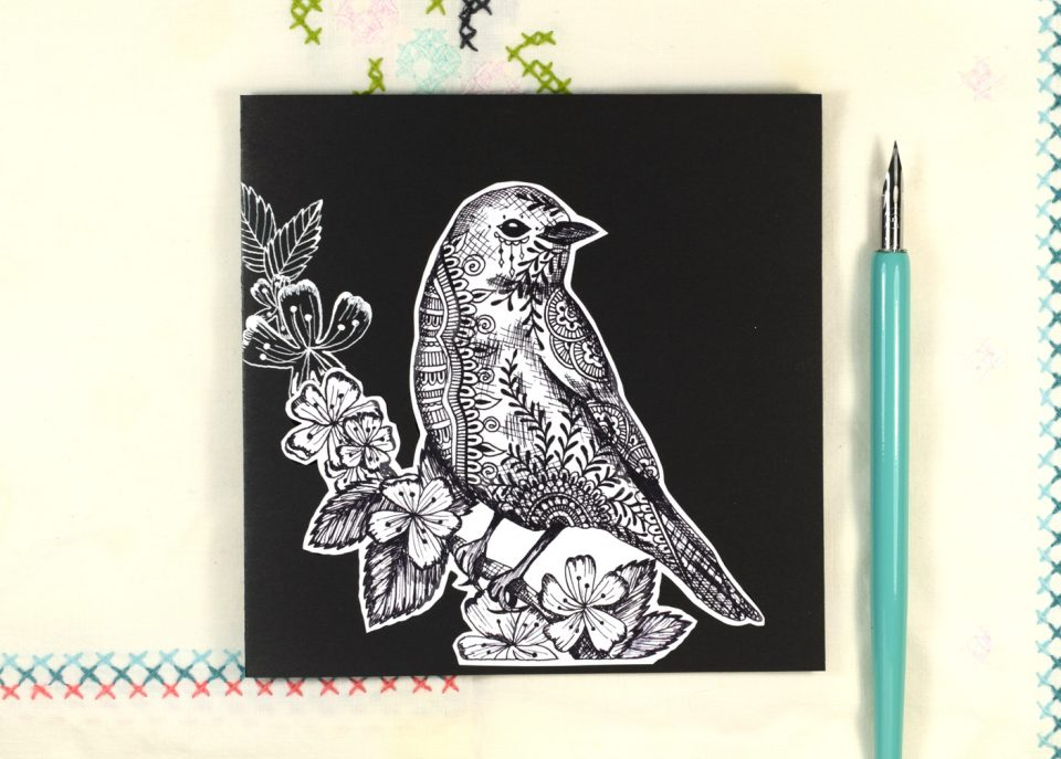 Printable Henna Bluebird Illustration Card Tutorial The