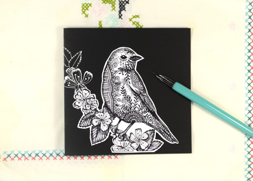 Henna Bluebird Illustration + Card Tutorial | The Postman's Knock