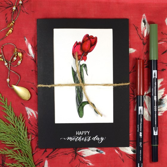 Tulips Mother's Day Card Components PDF