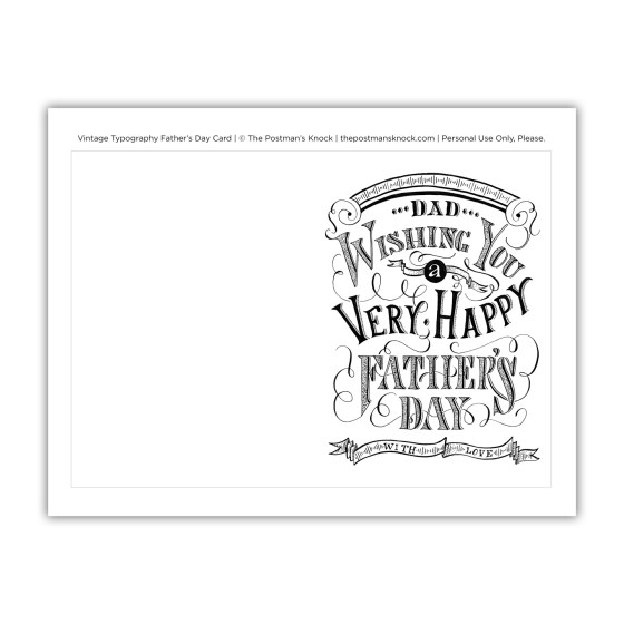 Vintage Typography Father's Day Card