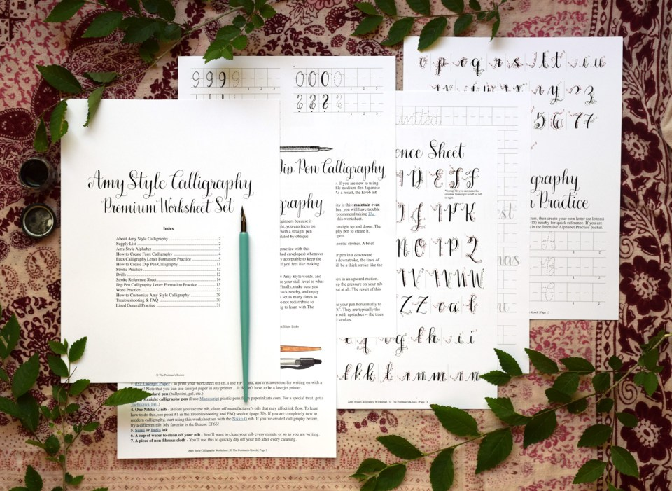 Printable Amy Style Calligraphy Worksheet Set | The Postman's Knock