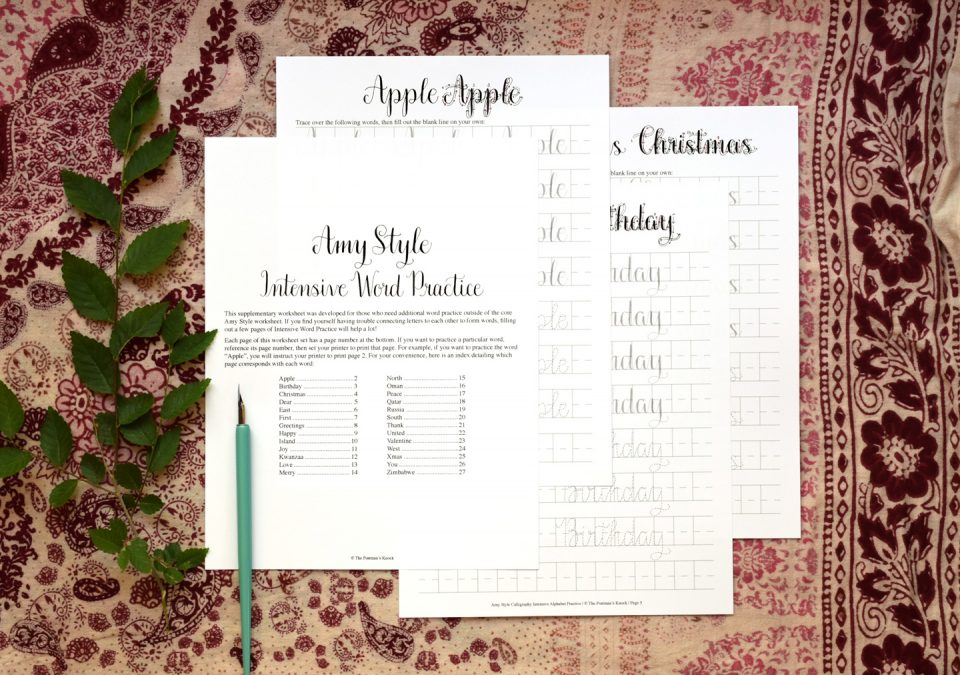 Amy Style Calligraphy Intensive Word Practice | The Postman's Knock