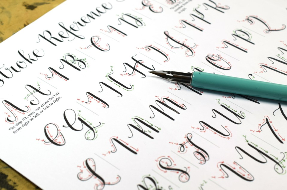 The Amy Style Calligraphy Stroke Reference Sheet | The Postman's Knock