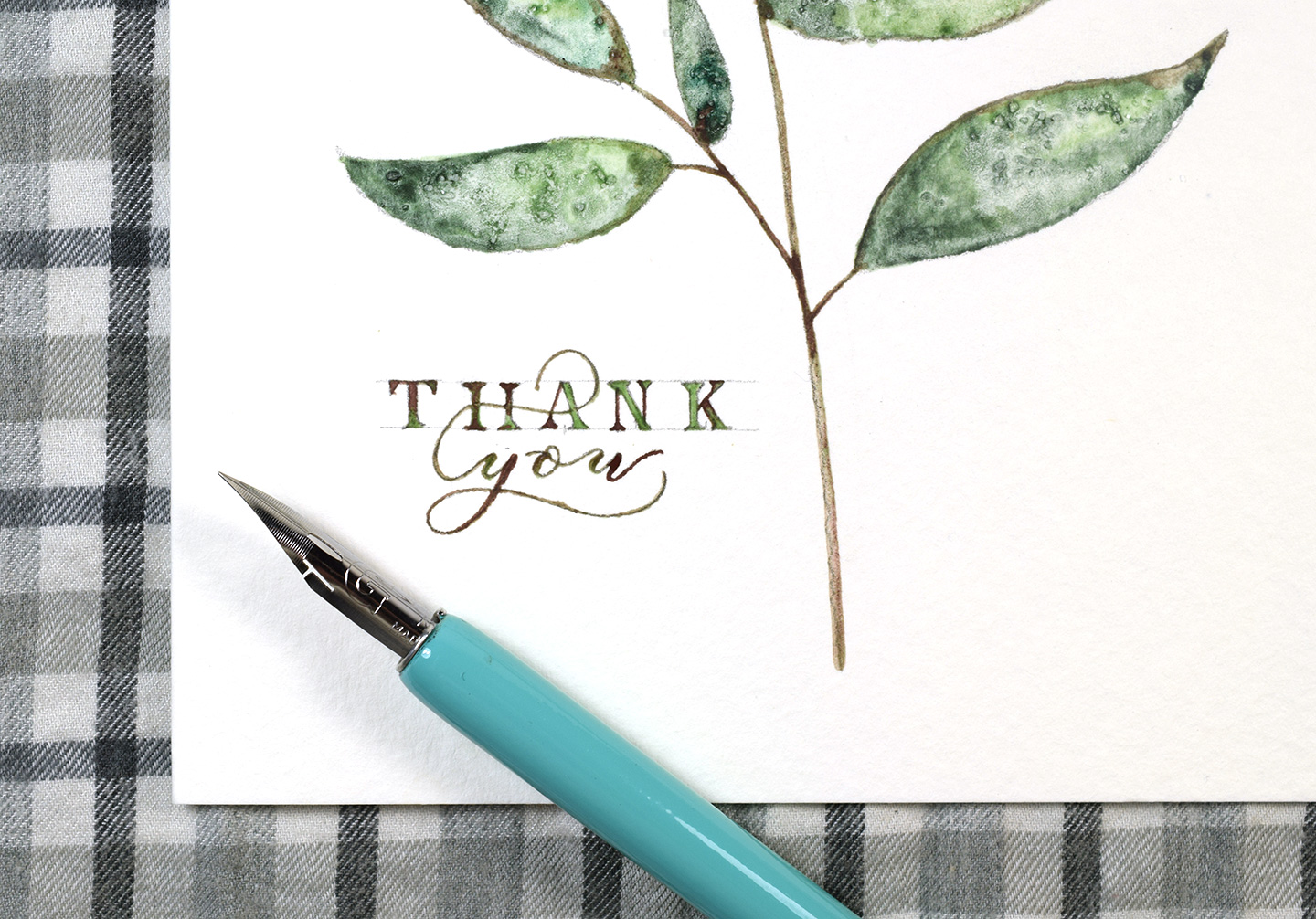 Simple Twig Watercolor Thank You Card Tutorial | The Postman's Knock