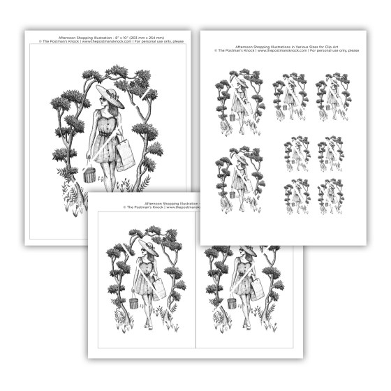 """Once you purchase, you will receive three high-resolution PDF files. The first PDF features this illustration in size 8""""x10"""", the second has two identical 5""""x7"""" versions of the illustration, and the third features the illustration in three different sizes for uses such as decoupage."""