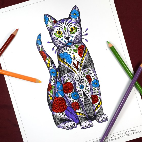 """The 8""""x10"""" cat is great for coloring!"""