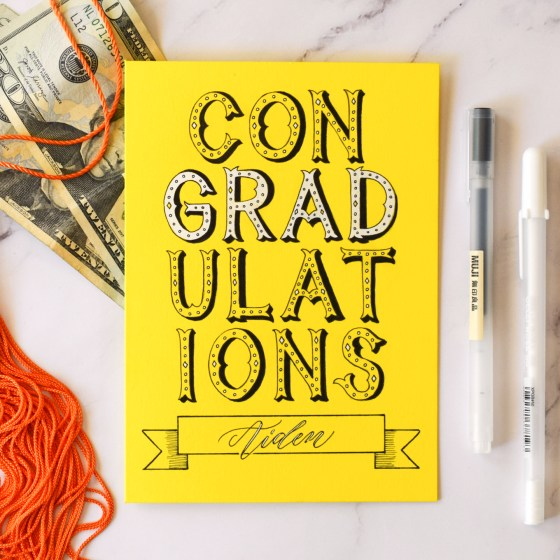 """This is an example of a """"ConGRADulations"""" card that was created using Circus Style lettering."""