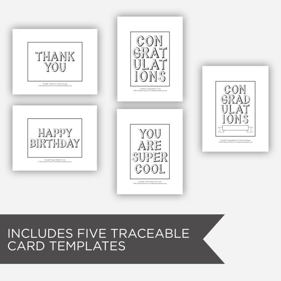 """This packet includes five traceable card templates to save you time! Just place one on a light box, put a light-colored 5"""" x 7"""" card on top, and trace over the Circus Style letters below."""