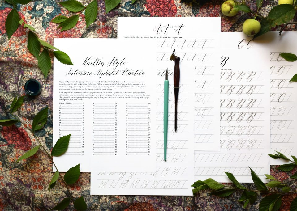 The 2018 Kaitlin Style Calligraphy Worksheet Update   The Postman's Knock