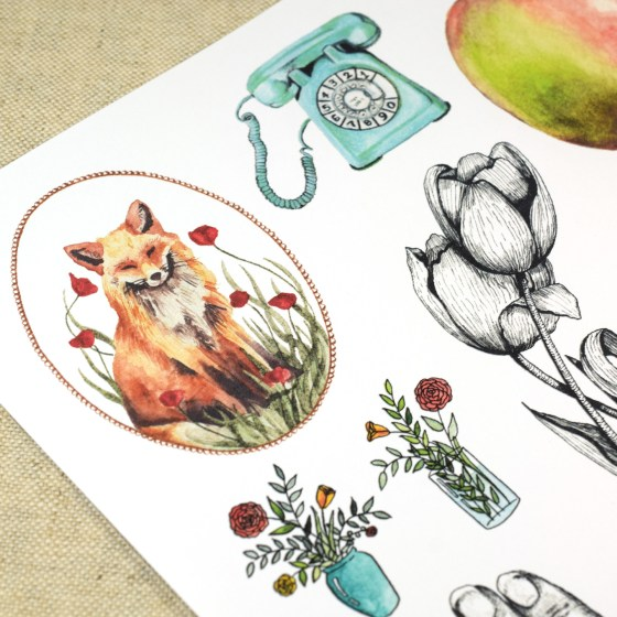 "This set also includes printable ""clipart"" for decoupage on your envelopes. All of the clipart comes from original illustrations created by me."