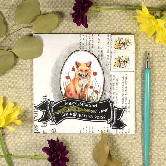 "This mail art was created using the 5.5"" x 5.5"" envelope template and one of the clipart illustrations from The Letter Writer's Complete Resource."