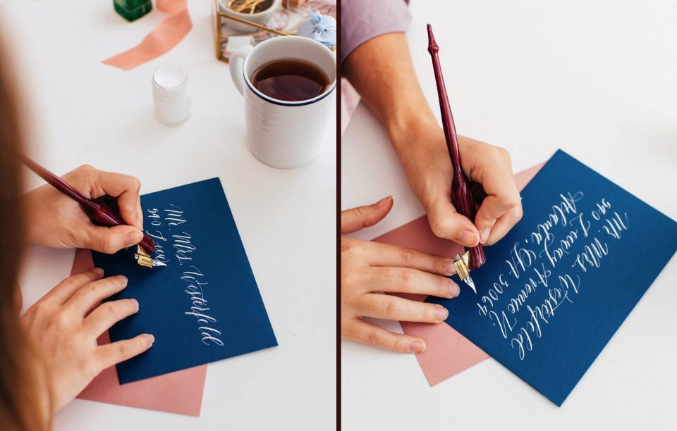 Photos of Lefty Calligrapher Elisabeth Young Writing