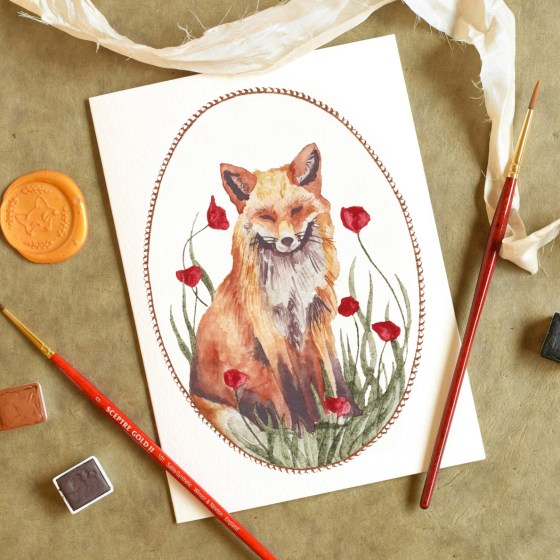 "This precious fox in a meadow comes to you as a 5""x7"" card."